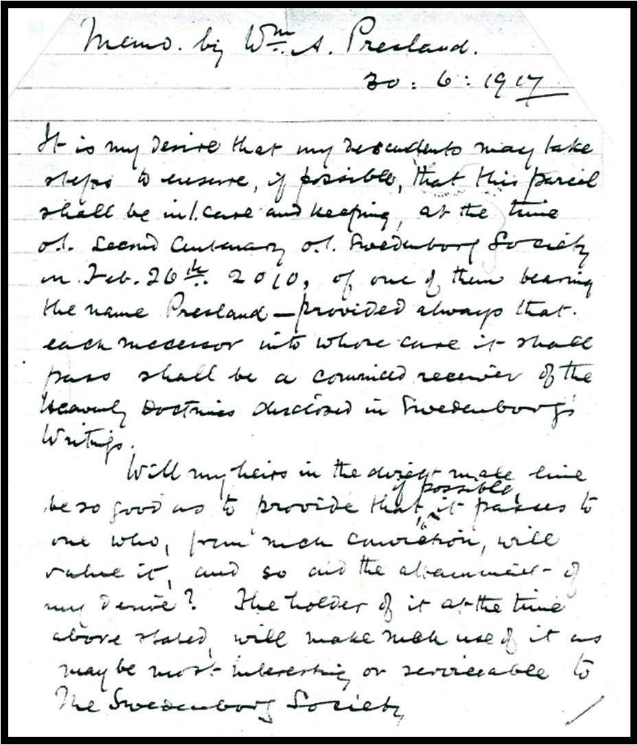 Memo by Rev. William Alfred Presland 30 June 1917
